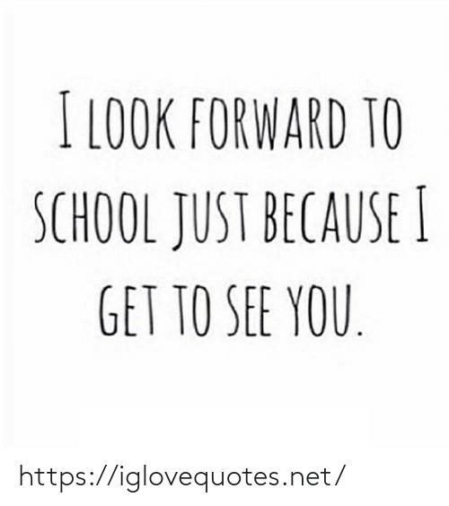 look forward: I LOOK FORWARD TO  SCHOOL JUST BECAUSE I  GET TO SEE YOU. https://iglovequotes.net/