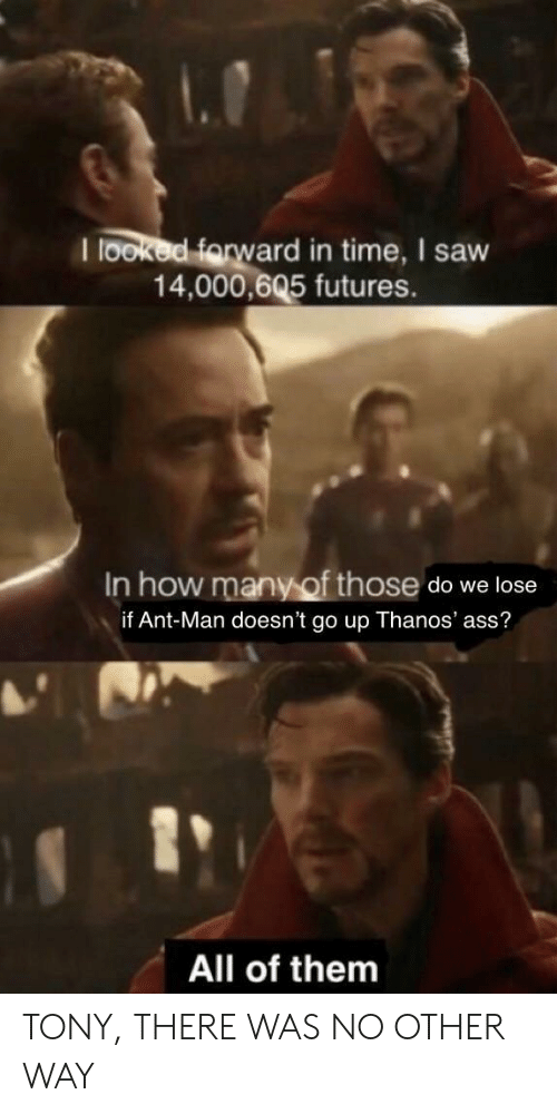 Go Up: I looked farw  ard in time, I saw  14,000,605 futures.  In how many of those do we lose  if Ant-Man doesn't go up Thanos' ass?  1  All of them TONY, THERE WAS NO OTHER WAY