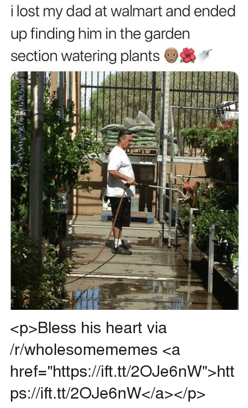 "Bless His Heart: i lost my dad at walmart and ended  up finding him in the garden  section watering plants <p>Bless his heart via /r/wholesomememes <a href=""https://ift.tt/2OJe6nW"">https://ift.tt/2OJe6nW</a></p>"