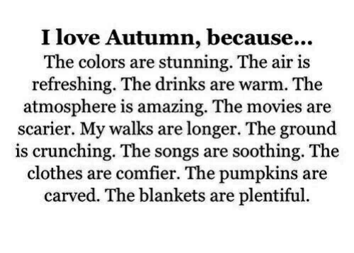 Clothes, Love, and Movies: I love Autumn, because...  The colors are stunning. The air is  refreshing. The drinks are warm. The  atmosphere is amazing. The movies are  scarier. My walks are longer. The ground  is crunching. The songs are soothing. The  clothes are comfier. The pumpkins are  carved. The blankets are plentiful.