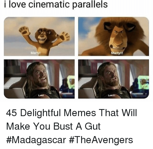 madagascar: i love cinematic parallels  Marty  arty!!!  Lokil  Lokil! 45 Delightful Memes That Will Make You Bust A Gut #Madagascar #TheAvengers