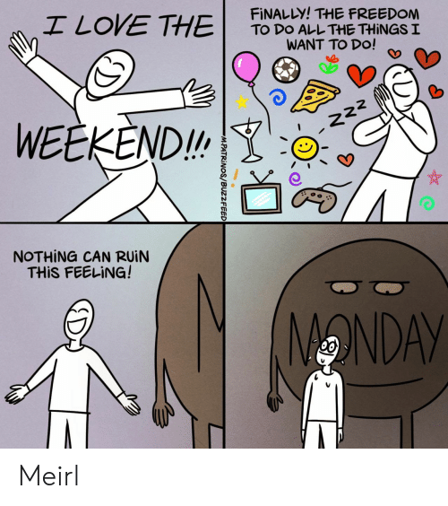 All the Things: I LOVE THE  FINALLY! THE FREEDOM  TO DO ALL THE THINGS I  WANT TO DO!  WEEKEND!  222  NOTHING CAN RUIN  THIS FEELING!  ONDAY  M.PATRINOS/BUZZFEED Meirl