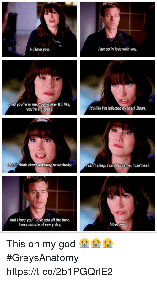 sloan: -I love you.  I am so in love with you.  And you're in me. Youre like- It's like,  you're a disease  It's like I'm infected by Mark Sloan.  can't twnk about anything or anybody.  can't sleep, I cant breathe, I can't eat.  And I love you. iove you all the time.  Every minute of every day.  l loveyou This oh my god 😭😭😭 #GreysAnatomy https://t.co/2b1PGQrlE2
