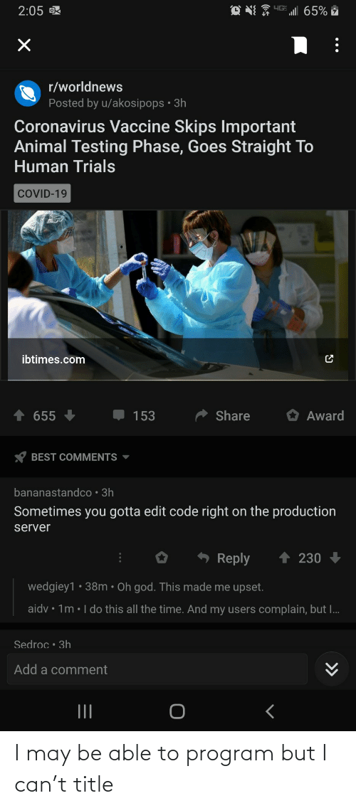 May Be: I may be able to program but I can't title
