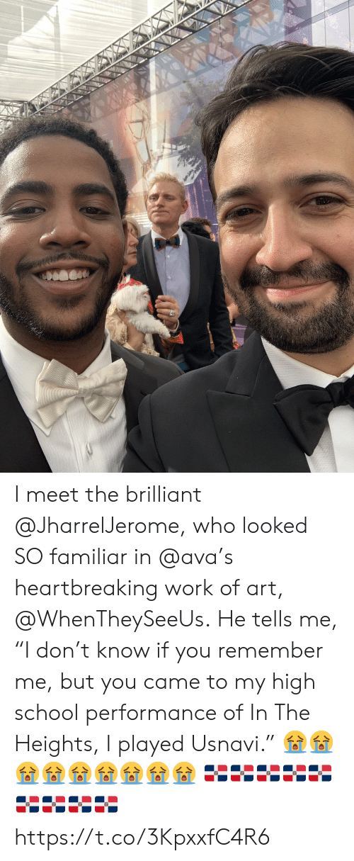 "Memes, School, and Work: I meet the brilliant @JharrelJerome, who looked SO familiar in @ava's heartbreaking work of art, @WhenTheySeeUs. He tells me, ""I don't know if you remember me, but you came to my high school performance of In The Heights, I played Usnavi.""  ????????? ?????????????????? https://t.co/3KpxxfC4R6"