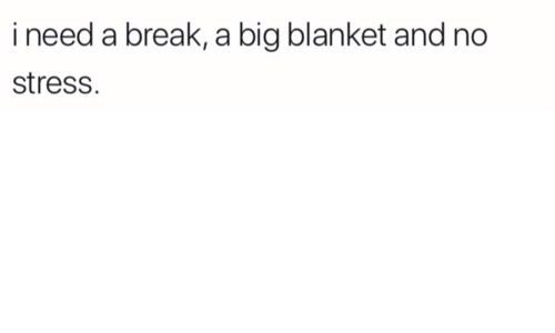 Break, Stress, and Big: i need a break, a big blanket and no  stress.
