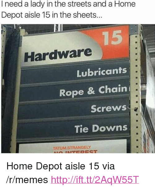 "Memes, Streets, and Home: I need a lady in the streets and a Home  Depot aisle 15 in the sheets..  Hardware  Lubricants  Rope & Chain  Screws  Tie Downs  TATUM.STRANGELY <p>Home Depot aisle 15 via /r/memes <a href=""http://ift.tt/2AqW55T"">http://ift.tt/2AqW55T</a></p>"