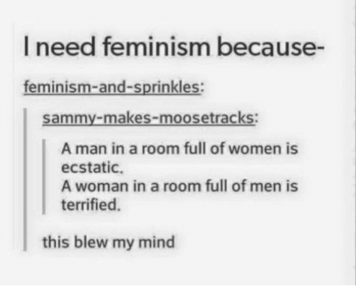 This Blew My Mind: I need feminism because-  feminism-and-sprinkles  Sammy-makes-moosetracks:  A man in a room full of women is  ecstatic.  A woman in a room full of men is  terrified.  this blew my mind