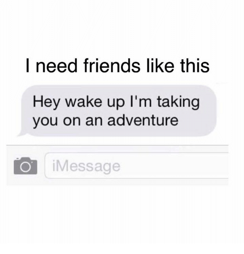 hey wake up: I need friends like this  Hey wake up l'm taking  you on an adventure  Message