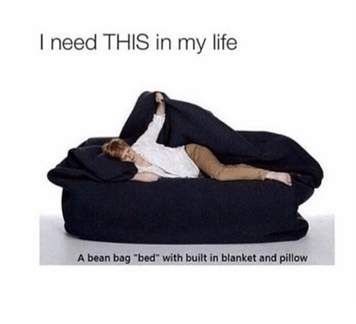 """Bean Bagged: I need THIS in my life  A bean bag """"bed"""" with built in blanket and pillow"""