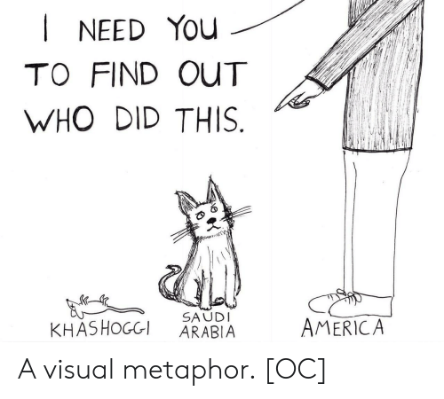 America, Metaphor, and Who: I NEED You  TO FIND OUT  WHO DID THIS  SAUD  KHASHOGGI ARABIA  AMERICA A visual metaphor. [OC]