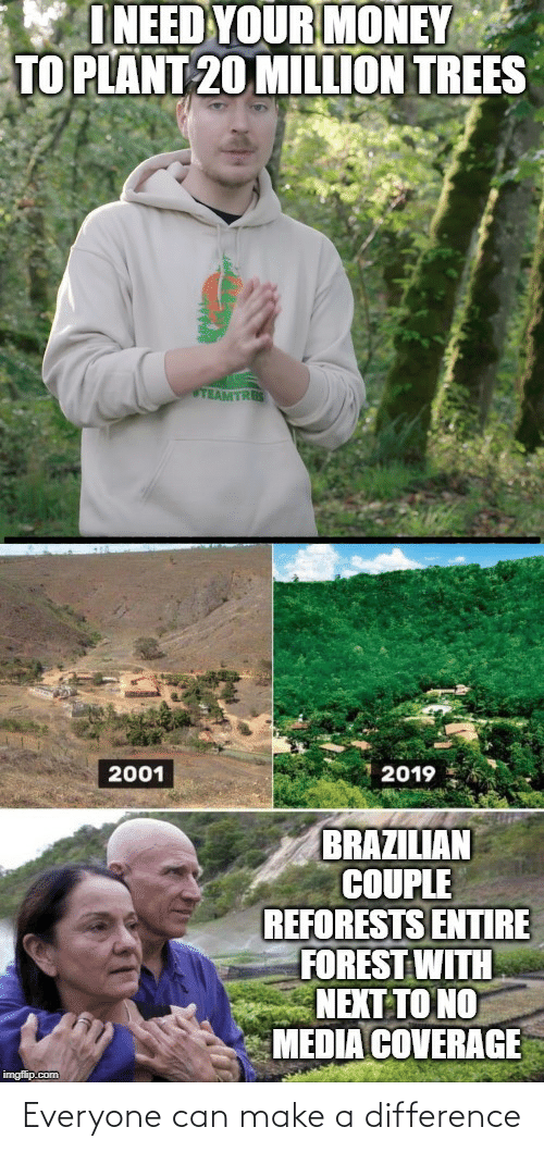 plant: I NEED YOUR MONEY  TO PLANT 20 MILLION TREES  TEAMTRES  2019  2001  BRAZILIAN  COUPLE  REFORESTS ENTIRE  FOREST WITH  NEXT TO NO  MEDIA COVERAGE  imgflip.com Everyone can make a difference