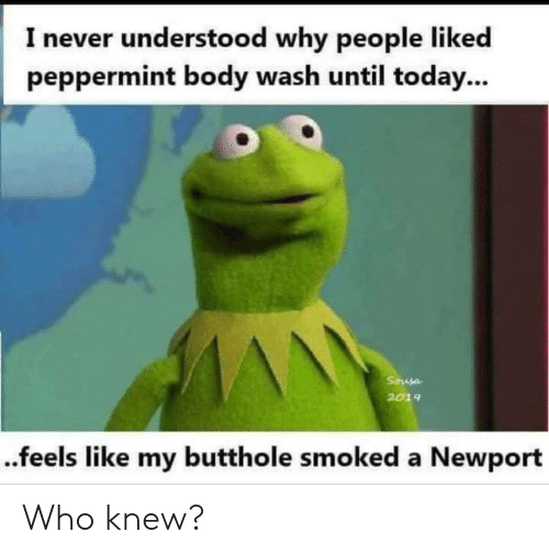 Newport, Today, and Never: I never understood why people liked  peppermint body wash until today...  Sausa  2019  ..feels like my butthole smoked a Newport Who knew?