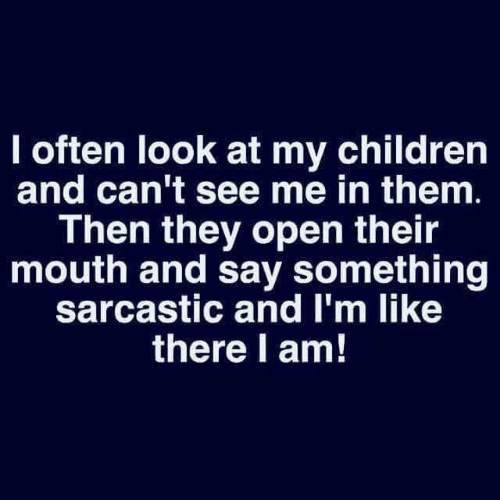 Look At My: I often look at my children  and can't see me in them.  Then they open their  mouth and say something  sarcastic and I'm like  there l am!