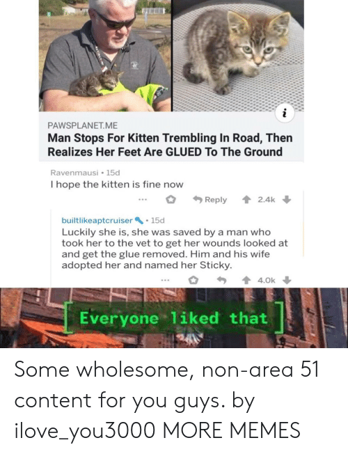 to-the-ground: i  PAWSPLANET.ME  Man Stops For Kitten Trembling In Road, Then  Realizes Her Feet Are GLUED To The Ground  Ravenmausi 15d  I hope the kitten is fine now  2.4k  Reply  builtlikeaptcruiser 15d  Luckily she is, she was saved by a man who  took her to the vet to get her wounds looked at  and get the glue removed. Him and his wife  adopted her and named her Sticky  4.0k  Everyone 1iked that Some wholesome, non-area 51 content for you guys. by ilove_you3000 MORE MEMES