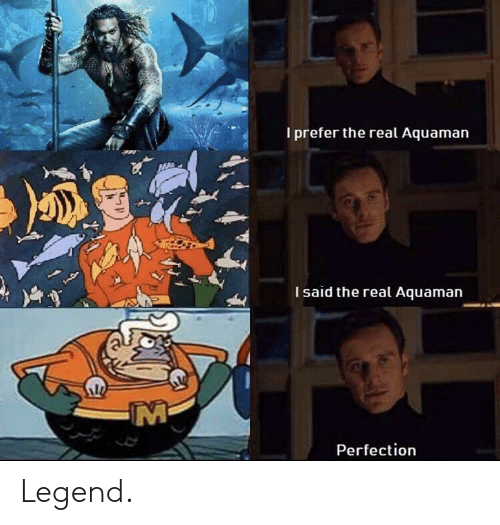 The Real, Legend, and Aquaman: I prefer the real Aquaman  I said the real Aquaman  Perfection Legend.