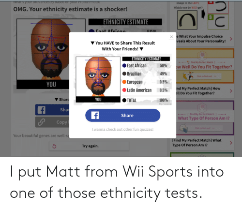 wii: I put Matt from Wii Sports into one of those ethnicity tests.