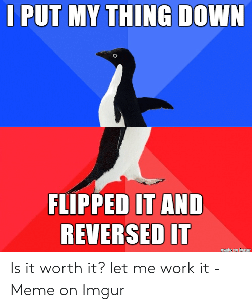 Meme, Work, and Imgur: I PUT MY THING DOWN  FLIPPED IT AND  REVERSED IT  made on a