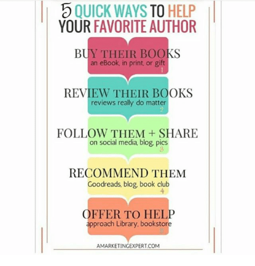Book Club: I QUICK WAYS TO HELP  YOUR  FAVORITE AUTHOR  an eBook, in print, or gift  REVIEW THEIR BOOKS  reviews really do matter  FOLLOW THEM SHARE  on social media blog, pics  RECOMMEND THEM  Goodreads, blog, book club  OFFER TO HELP  approach Library. bookstore  AMARKETINGEXPERT COM