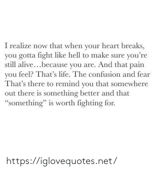 "Fear: I realize now that when your heart breaks,  you gotta fight like hell to make sure you're  still alive...because you are. And that pain  you feel? That's life. The confusion and fear  That's there to remind you that somewhere  out there is something better and that  ""something"" is worth fighting for. https://iglovequotes.net/"
