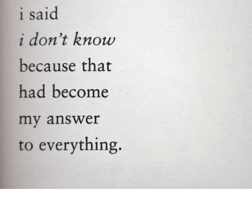 Answer, I Dont Know, and Everything: i said  i don't know  because that  had become  my answer  to everything.