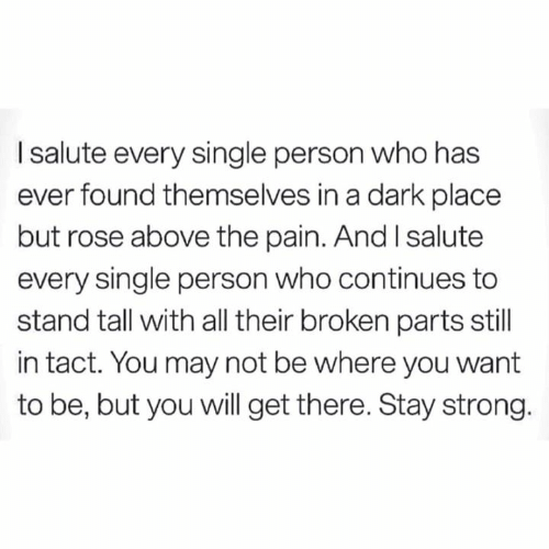 Memes, Rose, and Strong: I salute every single person who has  ever found themselves in a dark place  but rose above the pain. And I salute  every single person who continues to  stand tall with all their broken parts still  in tact. You may not be where you want  to be, but you will get there. Stay strong.
