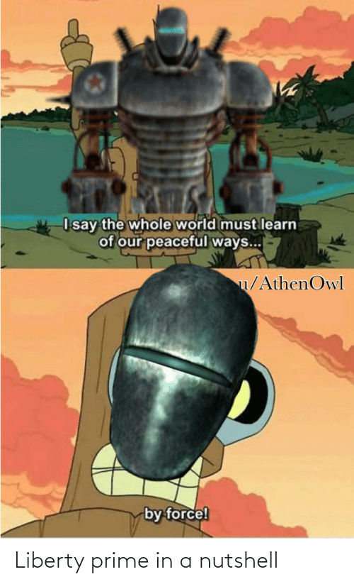 Liberty Prime: I say the whole world must learn  of our peaceful ways...  u/AthenOwl  by force! Liberty prime in a nutshell