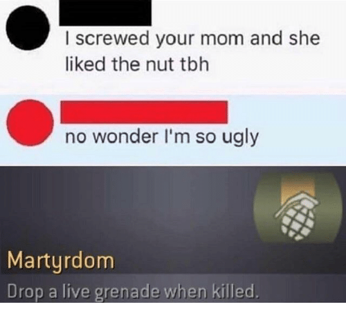 grenade: I screwed your mom and she  liked the nut tbh  no wonder I'm so ugly  Martyrdom  Drop a live grenade when killed.