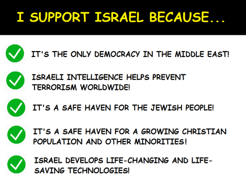 Israeli: I SUPPORT ISRAEL BECAUSE  IT'S THE ONLY DEMOCRACY IN THE MIDDLE EAST  ISRAELI INTELLIGENCE HELPS PREVENT  TERRORISM WORLDWIDE!  IT'S A SAFE HAVEN FOR THE JEWISH PEOPLE!  IT'S A SAFE HAVEN FOR A GROWING CHRISTIAN  POPULATION AND OTHER MINORITIES!  ISRAEL DEVELOPS LIFE-CHANGING AND LIFE  SAVING TECHNOLOGIES!