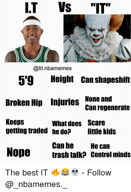"""trash talking: I.T Vs """"IT""""  @lit.nbamemes  5'9 Height Can shapeshift  Broken Hip Injuries None and  Keeps  Can regenerate  What does  he do?  Scare  little kids  getting traded  Can he  trash talk? control minds  He can  Nope The best IT 🔥😂💀 - Follow @_nbamemes._"""