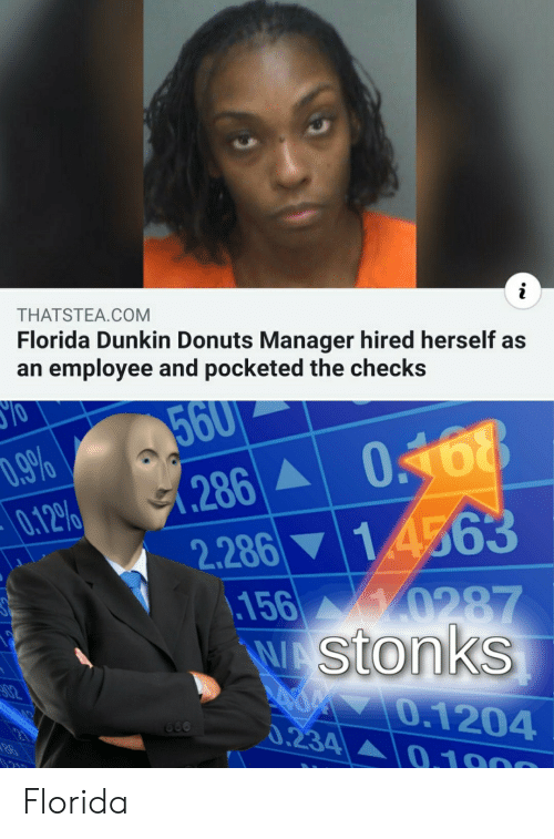 Donuts, Florida, and Dunkin Donuts: i  THATSTEA.COM  Florida Dunkin Donuts Manager hired herself as  an employee and pocketed the checks  560  .9%  0.12%  0168  286  2.286 14563  156 0287  WA Stonks  02  70.1204  0.234  660  0.1000 Florida