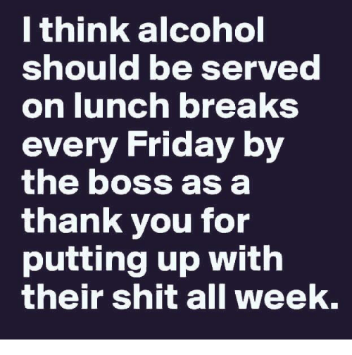 Friday, Memes, and Shit: I think alcohol  should be served  on lunch breakS  every Friday by  the boss as a  thank you for  putting up with  their shit all week.