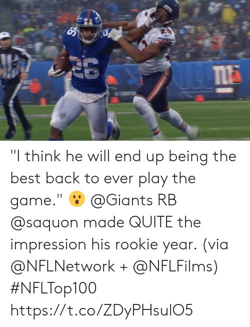"Impression: ""I think he will end up being the best back to ever play the game."" 😮  @Giants RB @saquon made QUITE the impression his rookie year. (via @NFLNetwork + @NFLFilms) #NFLTop100 https://t.co/ZDyPHsulO5"