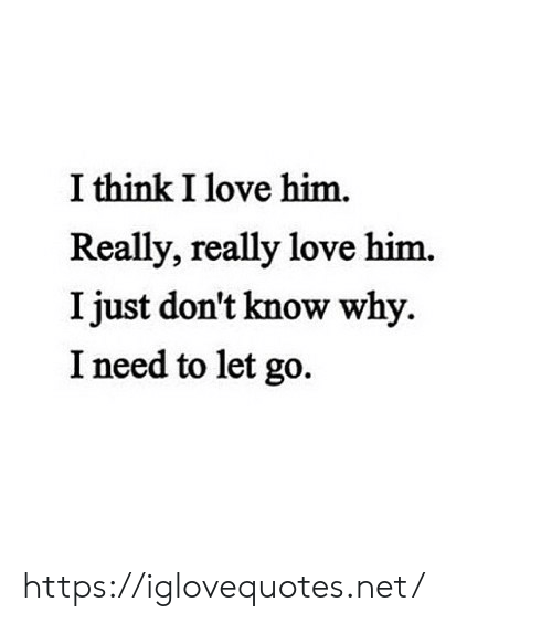 Love, Net, and Him: I think I love him.  Really, really love him.  I just don't know why.  I need to let go. https://iglovequotes.net/