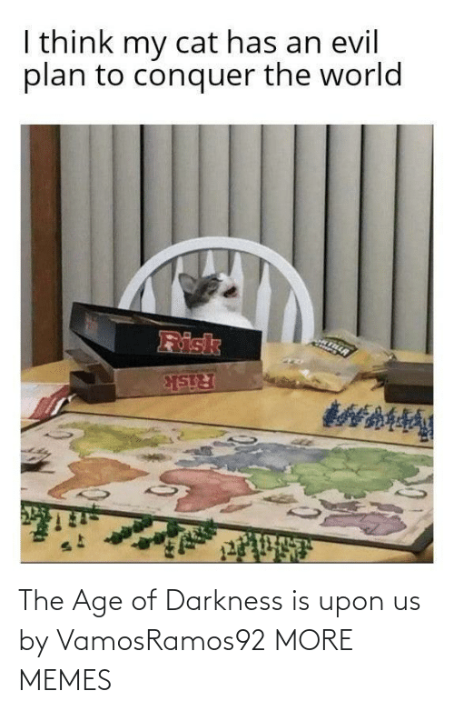 Dank, Memes, and Target: I think my cat has an evil  plan to conquer the world  Risk  Risk The Age of Darkness is upon us by VamosRamos92 MORE MEMES