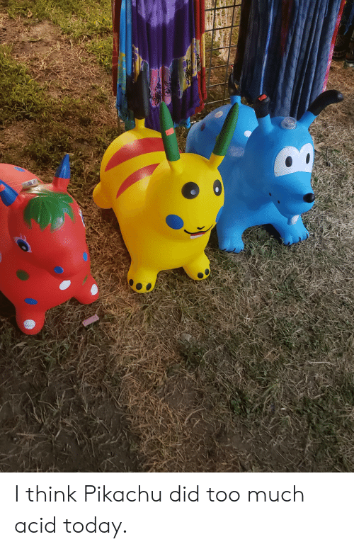Pikachu, Too Much, and Today: I think Pikachu did too much acid today.
