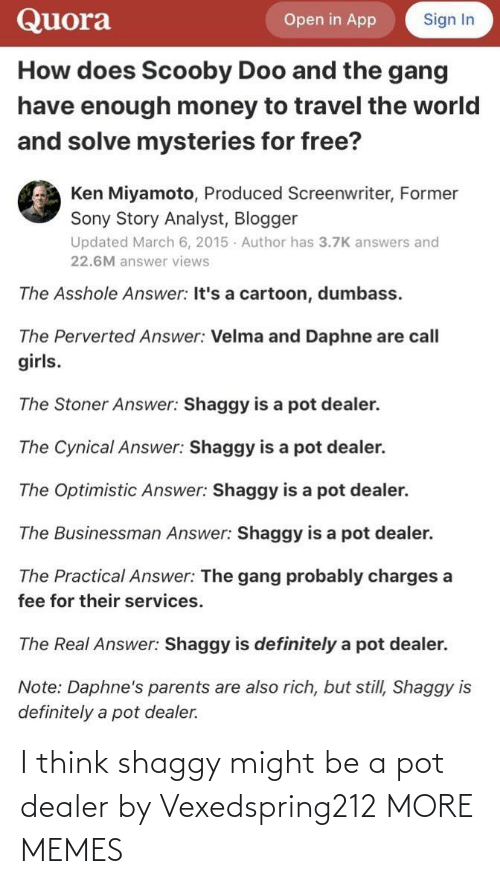 pot: I think shaggy might be a pot dealer by Vexedspring212 MORE MEMES