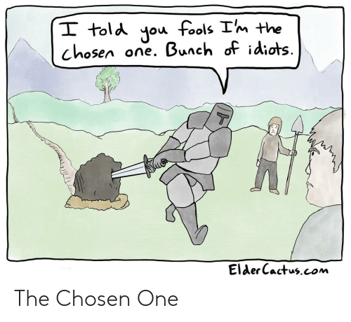 fools: I told you fools Im the  one. Bunch of idiots  chosen  T  Elder Cactus.com The Chosen One