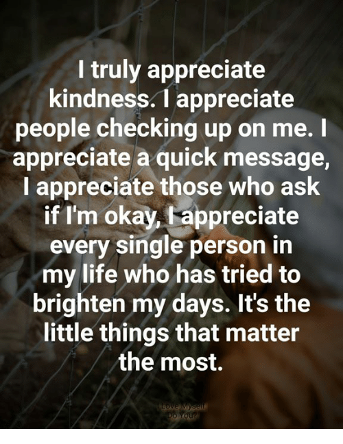 Life, Memes, and Appreciate: I truly appreciate  kindness.1 appreciate  people checking up on me.I  appreciate a quick message,  I appreciate those who ask  if I'm okay, fappreciate  every single person in  my life who has tried to  brighten my days. It's the  little things that matter  the most.