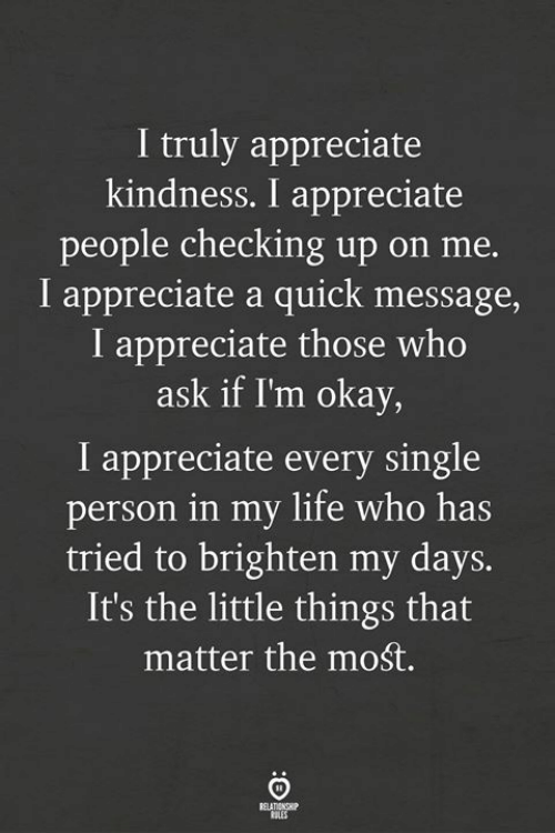 Life, Appreciate, and Okay: I truly appreciate  kindness. I appreciate  people checking up on me.  I appreciate a quick message,  I appreciate those who  ask if I'm okay,  I appreciate every single  person in my life who has  tried to brighten my days.  It's the little things that  matter the mośt.  OLES