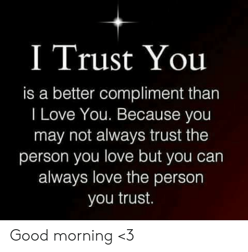Love, Memes, and Good Morning: I Trust You  is a better compliment than  I Love You. Because you  may not always trust the  person you love but you  always love the person  you trust. Good morning <3