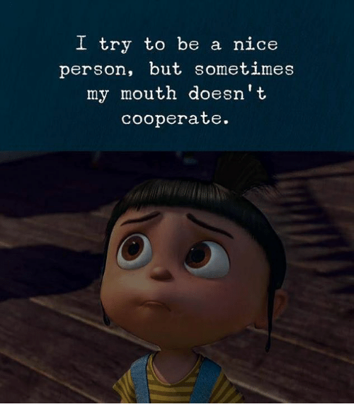 Nice, Person, and Sometimes: I try to be a nice  person, but sometimes  my mouth doesn't  cooperate.