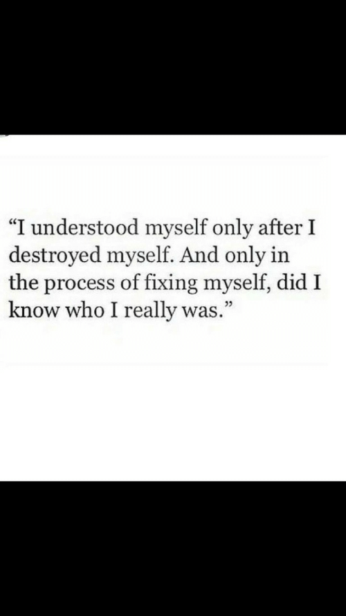 """Who, Did, and Really: """"I understood myself only after I  destroyed myself. And only in  the process of fixing myself, did I  know who I really was.""""  05"""