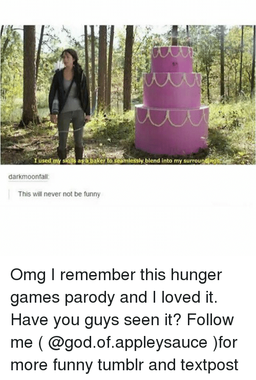 Bakerate: I used my skills asa baker to seamlessly blend into my surrounding  darkmoonfall  This will never not be funny Omg I remember this hunger games parody and I loved it. Have you guys seen it? Follow me ( @god.of.appleysauce )for more funny tumblr and textpost