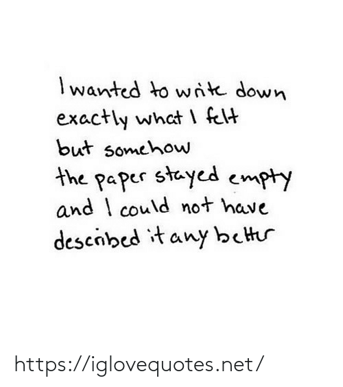 Write: I wanted to write down  exactly what I felt  but somehow  the paper stayed empty  and I could not have  descibed it any better https://iglovequotes.net/
