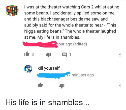 I Was At The Theater Watching Cars 2 Whilst Eating Some Beans I