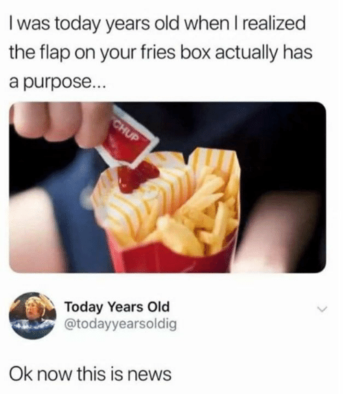 Dank, News, and Today: I was today years old when I realized  the flap on your fries box actually has  a purpose..  Today Years Old  @todayyearsoldig  Ok now this is news