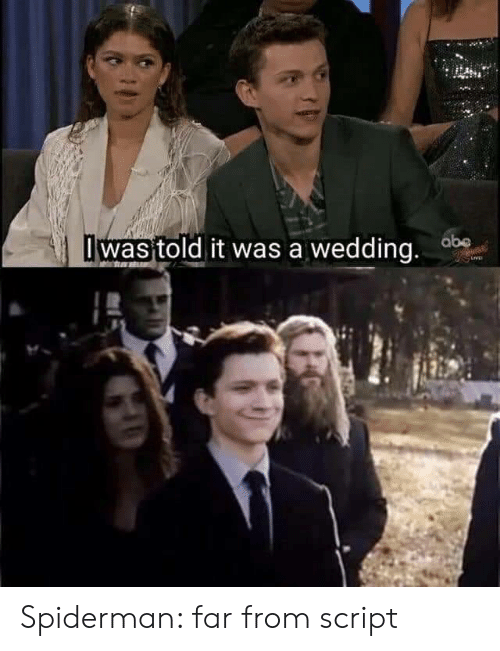 I Was Told: I was told it was a wedding. ab Spiderman: far from script