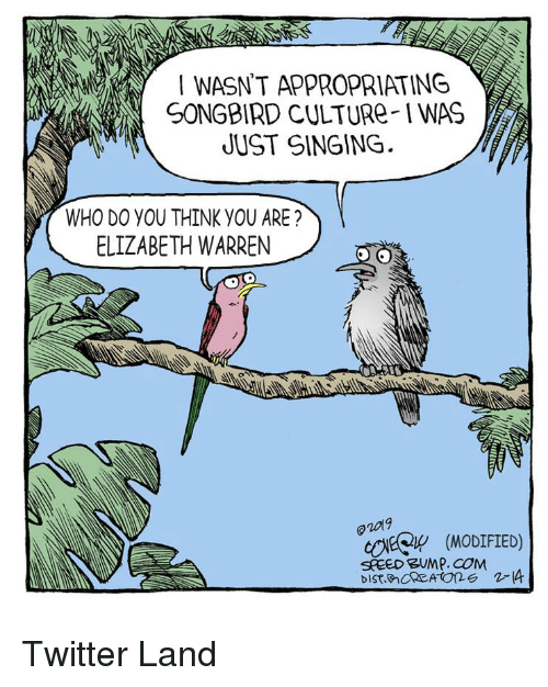 Elizabeth Warren, Singing, and Twitter: I WASN'T APPROPRIATING  SONGBIRD CULTURe-IWAS  UUST SINGING  WHO DO YOU THINK YOU ARE?  ELIZABETH WARREN  o2019  cOEQ (MoDIFIED)  SPEED BUMP. COM