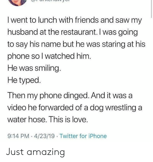 Typed: I went to lunch with friends and saw my  husband at the restaurant. I was going  to say his name but he was staring at his  phone so I watched him.  He was smiling.  He typed.  Then my phone dinged. And it was a  video he forwarded of a dog wrestling a  water hose. This is love.  9:14 PM 4/23/19 Twitter for iPhone Just amazing
